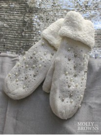 Pearl & Diamante Wool Cuffed Mittens - Cream