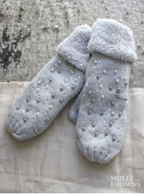 Pearl & Diamante Wool Cuffed Mittens - Grey