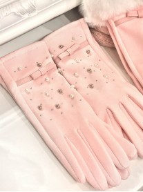 Diamante & Pearl Gloves - Pink