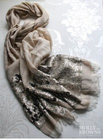 Sequin Panelled Scarf - Soft Gold